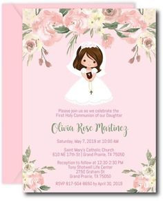 Adorable Girl First Communion Invitations featuring a variety of hair and skin tones. Easily change the background colors for a personal Holy Communion. First Communion Invitations, Shower Invitations, Invitation Cards, Invitation Wording, Shower Favors, Communion Centerpieces, First Communion Decorations, Shower Centerpieces, Invitation Examples