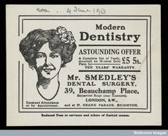 1913 ad for Mr Smedley's Dental Surgery offering modern dentistry and reduced fees to servants and others of limited means.