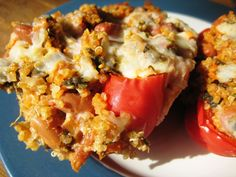 These peppers…these are GOOD for the body. Packed with vegetables, whole grains, and TONS of flavor. You won't even miss meat with t. Easy Vegetarian Dinner, Going Vegetarian, Vegetarian Cooking, Vegetarian Recipes, Cooking Recipes, Healthy Recipes, Yummy Recipes, Healthy Foods, Healthy Dinners