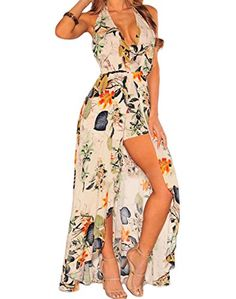 33a91145bbb JINSEY Womens V Neck Boho Floral Chiffon Maxi Dress Overlay Rompers  Jumpsuit Playsuit -- Read