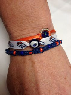 Denver Bronco three piece ribbon blue and by Recyclefunjewelry, $13.00
