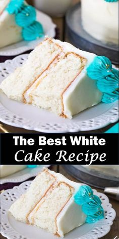 Delicious and healthy family choice special food and drink The Best White Cake Recipe This BEST white cake recipe yields a fluffy, snow-white cake that's light and soft but still sturdy enough to stack or cover with fondant. Delicious and. Cake Recipes From Scratch, Easy Cake Recipes, Cupcake Recipes, Dessert Recipes, Vegan Recipes, White Wedding Cake Recipe From Scratch, White Cake Recipes, Dessert Ideas, Wedding Cake Recipes