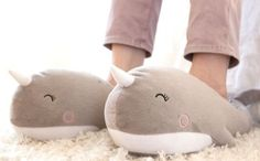 Slip into these happy narwhal slippers. | 28 Ways To Cover Your House In Cute Animals