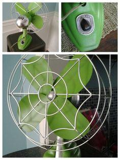 Painted green vintage fan.