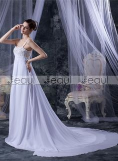 Discount Chiffon Satin Beadings Spaghetti Straps Court Sheath Bridal Gown Wedding Dress [1131406015]
