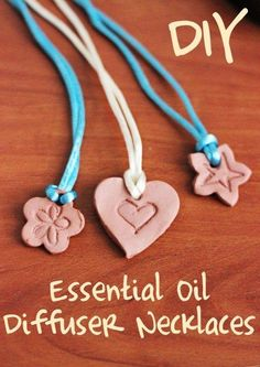 GIFT IDEA: ESSENTIAL OIL DIFFUSER NECKLACE You will need:Crayola air-dry clay,Cookie or vegetable cutter,Rubber stamp,String or ribbon Step  1: Roll out clay to 1/4″ thickness.  2: Use 1″-2″ mini cookie cutters or vegetable cutters to cut out pendants 3: Firmly stamp an image into each pendant.  4: Create a hole for the cord, string or ribbon.  5: Allow to air dry for 1-3 days. 6: Thread string through so you can wear it around your neck 7: Add a drop of your favorite EO