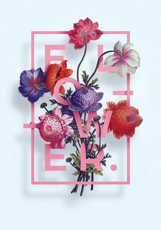 40 florale Typografie-Designs, die Blumen und Text kombinieren – illustration,… 40 floral typography designs that combine flowers and text – illustration, prints & engraving – #