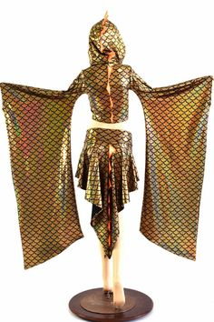 Golden Dragon Scale Crop Hoodie w Kimono by CoquetryClothing