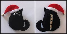Cat in Santa Hat with jingle bell - Hand Made Brooch/Pin - Black Cat | eBay