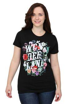 Alice In Wonderland Flowers Juniors T-Shirt #MightyFine #TShirt