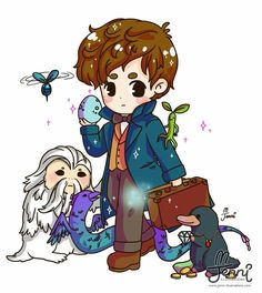 Watched 'Fantastic Beast,and where to find them' today! Fanart Harry Potter, Harry Potter Artwork, Harry Potter Drawings, Harry Potter Fandom, Harry Potter World, The Beast, Hogwarts, Scorpius And Rose, Chibi