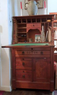 Antique Carved Cherry Wood Secretary Desk 19th C. Vintage