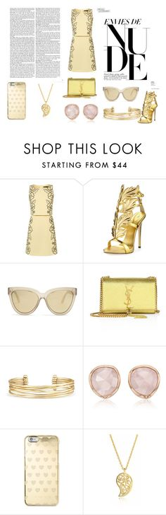"""nude"" by alexandramaticiuc-1 on Polyvore featuring Giuseppe Zanotti, Le Specs, Yves Saint Laurent, Stella & Dot, Monica Vinader, Michael Kors and Sonal Bhaskaran"