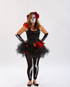To-die-for DIY Day of the Dead costume ... starting with mix & match skeleton leggings and gloves plus tutu, bustier, flowers and, of course, amazing makeup!
