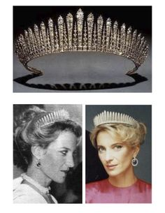 """CLOWN: """"Kent City of London Fringe Tiara"""" (of Princess Michael of Kent) -- In classic Russian fringe style; featuring diamonds set in gold & silver; cannot be worn as a necklace  _____________________________ Photos grouped by Dr. Veronica Lee, DNP (Depew/Buffalo, NY, US)"""