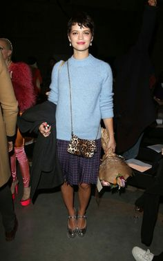 Pixie-Geldof-Best-Looks-StyleChi-London-Fashion-Week-Blue-High-Neck-Knit-Checked-Navy-Red-Pleated-Skirt-Silver-Heels-Leopard-Bag-Grey-Coat-Brunette-Crop