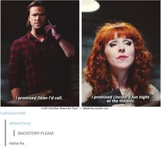 """11x09 O Brother Where Art Thou? [gifset] - """"I promised Lincoln a fun night at the theater."""" - Rowena, Sam Winchester; Supernatural - Wait. What is she implying? XD"""