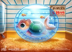 Daily Painting Monster Shop - Chimera by Cryptid-Creations on DeviantArt Cute Animal Drawings, Kawaii Drawings, Cute Drawings, Cute Fantasy Creatures, Cute Creatures, Animal Puns, Creature Drawings, Cute Monsters, Painted Books