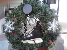 Hockey skate and puck Christmas Holiday Wreath