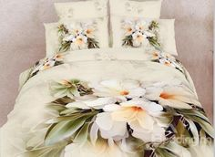 Beautiful White Flowers Print 4 Piece 3D Duvet Cover Sets