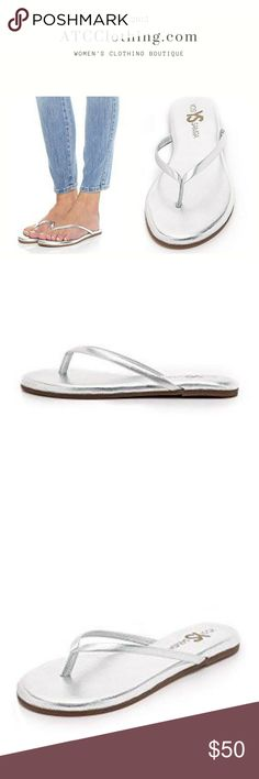 Yosi Samra Roee Flip Flops Silver Yosi Samra Roee Flip Flops.  A padded footbed lends all-day comfort to these metallic Yosi Samra flip-flops. Rubber sole. Yosi Samra Shoes Flats & Loafers