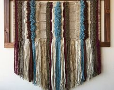 Made in Chile with natural wool and driftwood from Lago Puyehue. Woven Wall Hanging, Tapestry Wall Hanging, Wall Hangings, Textiles, Weaving Art, Wool, Crochet, Unique, How To Make