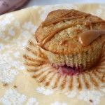 Strawberry Banana Oat Bran Muffins with Peanut Butter Drizzle
