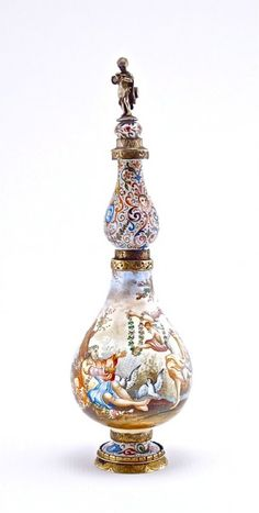 19th Century Viennese Porcelain Enamel Scent Bottle : enameled metal, double gourd form, engraved bands, silver finial