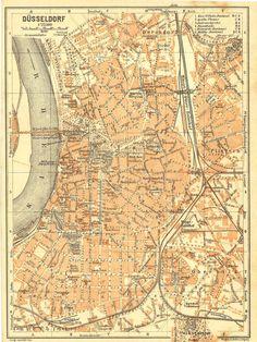 1925  Dusseldorf City Map, Street Plan, North Rhine, Westphalia, Germany, Baedeker on Etsy, 売り切れ