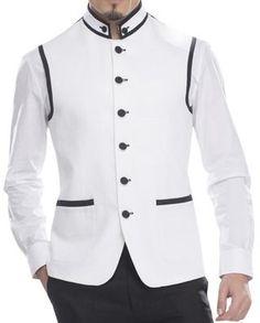 Mens White Modi Jacket For Men Linen Nehru Vest