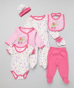 Take a look at the Duck Duck Goose Pink & White Elephant Seven-Piece Layette Set on #zulily today!