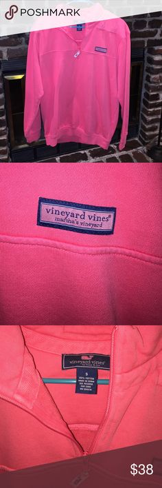 Vineyard Vines Quarter Zip Sweater So sad I have to get rid of it. Just a little too big on me. Size small. Coral/salmon color. Purchased from Von Maur. Vineyard Vines Sweaters