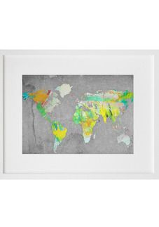 Painter World Map - Yellow  Rolled canvas print, ready to frame.  Keep out of direct sunlight.  *Please note frame is not included  DIMENSIONS A3 = 30cm x 45cm  RETURNS This item is for FINAL sale and not eligible for return. See returns policy for details.  SHIPPING Flat Rate Shipping $4.90 A signature required door to door courier service. (additional charges for Rural NZ and AUS orders