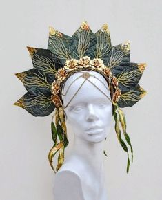 Green Gold Leaf Kokoshnik Headdress Festival Crown Easter Woodland Forest Fairy Costume Princess Headpiece This Fairy Costume Headpiece is for those wispy magical creatures of the forest. Or, alternatively, St. If your eyes are green, t Gold Leaf Crown, Floral Crown, Forest Fairy Costume, Fairy Costumes, Gold Wedding Crowns, Fairy Crown, Michael Cinco, Woodland Forest, Princess Costumes