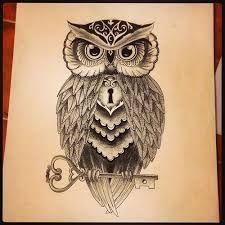 cartoon photo real owl tattoo - Google Search