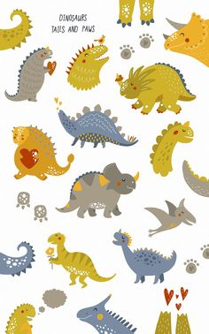Cute Dinosaurs by tatiletters on @creativemarket