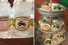 John Deere water labels and cupcakes