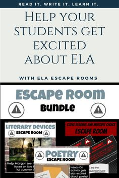 Make ELA an on-your-feet learning experience with three escape rooms! This escape room bundle includes escape rooms for learning or reviewing poetry, literary devices, and close reading/multiple choice skills. Help kids to love reading and writing as much as you do! From www.readitwriteitlearnit.com