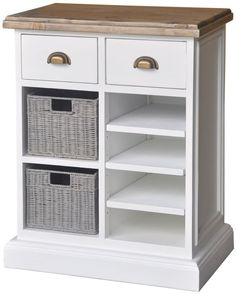 Rowico Lulworth White Brush 2 Drawer 2 Baskets 3 Shelves Storage Chest with Wine Rack