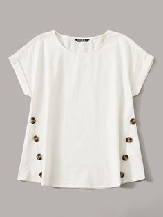 To find out about the Rolled Cuff Button Detail Top at SHEIN, part of our latest Blouses ready to shop online today! Roll Up Sleeves, Types Of Sleeves, Sleeve Styles, Blouses For Women, Fashion News, Ideias Fashion, Look, Tunic Tops, Clothes