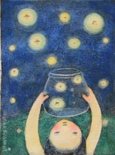 Catching Fireflies - Kristina Swarner. We used to love catching fireflies at my grandparents in Kentucky, but we called them lightnin' bugs. We only kept them long enough to marvel at how such a dull looking beetle could produce light; then we let them go in the tall grass at the edge of the yard.