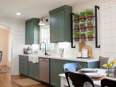 Country Kitchen With Indoor Herb Garden, Sage Green Cabinets, and White Shiplap . - Kitchens - Home Fixer Upper Kitchen, New Kitchen, Kitchen Decor, Kitchen Ideas, Kitchen Pictures, Kitchen Brick, Concrete Kitchen, Craftsman Kitchen, Rustic Kitchen