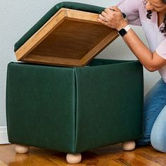 Learn how to build a DIY storage ottoman cube with a reversible tray top. The upholstered ottoman is a super easy build with no sewing involved! Diy Storage Ottoman Cube, Entryway Bench Storage, Ottoman Tray, Upholstered Ottoman, Cube Storage, Small Storage, Rustic Wooden Bench, Affordable Storage, Diy Nightstand