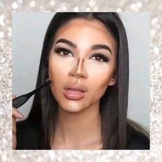 Makeup Looks For Brown Eyes, Makeup Eye Looks, Eye Makeup Art, Full Face Makeup, Contour Makeup, Eyebrow Makeup, Glam Makeup, Dark Lipstick Makeup, Flawless Skin Makeup