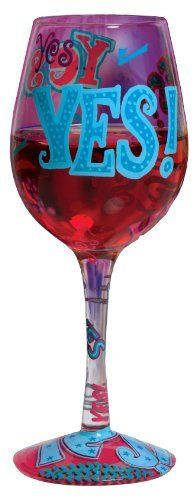Lolita Love My Wine Glass, Yes by Santa Barbara Design Studio Kitchen. $17.95. Lolita licensed hand painted wine glass with yes wine cooler recipe on the bottom of the stem. Hand washing is recommended. Each glass is carefully hand painted; the vibrant colors and embellishments are applied with meticulous detail. Holds 15-ounces; wine, wine cocktail or juice, holds even candy- don't limit the possibilities because they are endless..... Glasses ship in lolita's signature gift bo...