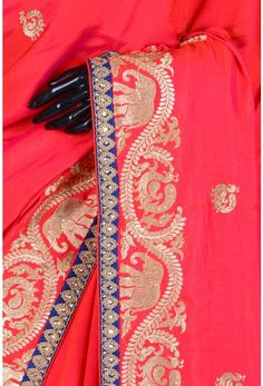 Blended Tussar Embroidery-Red & Pink Dual Tone-Zari Work-WG203876 Embroidery Saree, Types Of Embroidery, Embroidery Designs, Western Dresses, Western Outfits, Katan Saree, Saree Border, Lace Patterns, Indian Sarees