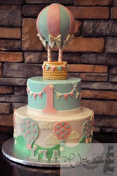 Make your kids First Birthday bash stand out with our creative birthday cake by ordering this awesome Fun First Birthday Girls First Birthday Cake, Baby Birthday Cakes, Birthday Bash, Birthday Month, Balloon Birthday Themes, Hot Air Balloon Cake, Air Ballon, Deco Baby Shower, Creative Birthday Cakes