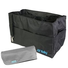 KF Baby Diaper Bag Insert Organizer (12 x 6.4 x 8 inch, Black) + Diaper Changing Pad Value Combo