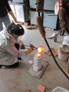 John Littleton, Artist, pouring bronze in studio