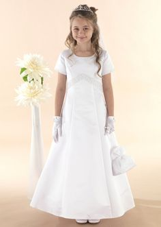 White Full Length A - line Beaded First Communion Dress with Sleeves - New 2015 - GRACE - Linzi Jay Communion Dress - Age 6 7 8 years -Girls